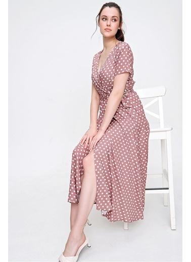 Pink Park Kurvaze Bağlamalı Dokuma Elbise SL00005 Kahve